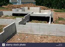 labyrinth of poured concrete basement walls in new home