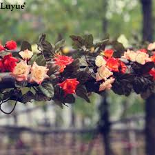 Decorative Garlands Home by 2pcs Lot Artificial Garlands Flowers Silk Vines Fake Foliage