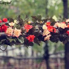 Decorative Garlands Home 2pcs Lot Artificial Garlands Flowers Silk Vines Fake Foliage
