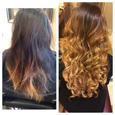 keratin bond hair extensions before and after corrective color then keratin bond hair