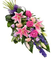 flower for funeral pink and purple sheaf delivered with care designed with