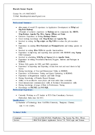 Resume Format Pdf For Tcs by Hadoop Resume Format Virtren Com