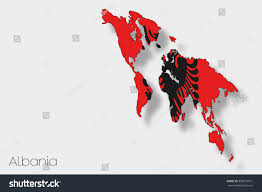 Black And Red Flag Country 3d Isometric Flag Illustration Country Albania Stock Vector