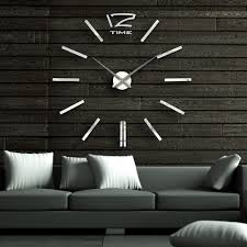 40 inch modern 3d mirror wall clock diy room home decor bell cool
