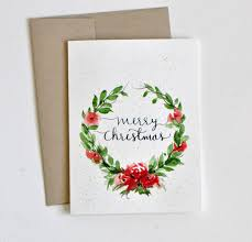 painted watercolor christmas card watercolor flowers wreath