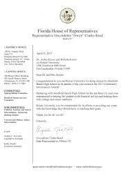 Graduation Certification Letter Sle Congratulations Letter From Florida Rep Clarke Reed Keiser