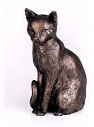 outdoor garden classic cat ornament bronze effect feline statue