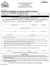 application for inactive broker or sales agent status trec