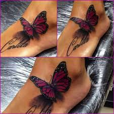 Butterflies Tattoos On - 3d purple butterfly on tatoo 3d