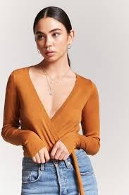wrap sweater top mock wrap sweater knit top forever 21 2000242061