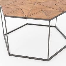 Hexagon Side Table Faceted Wood Hexagon Coffee Table West Elm