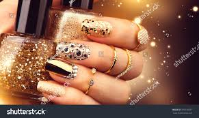 golden nail art manicure holiday style stock photo 370116677