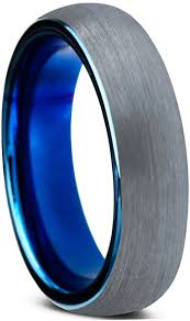 blue tungsten rings images Charming jewelers blue round domed brushed tungsten wedding band jpg