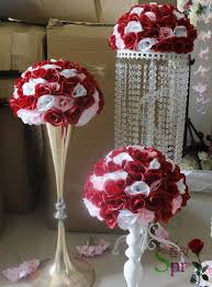 Ball Table Decorations Mix Red White Wedding Kissing Flower Ball 30cm Holiday Decorations