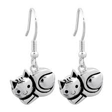 cat earrings sterling silver cat earrings