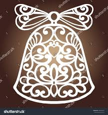 laser cut paper christmas bell decoration stock vector 486595690