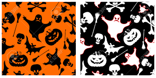 two halloween seamless patterns pumpkin witches broom skeleton