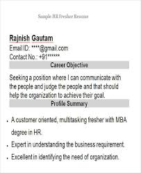 Sample Hr Resumes For Freshers by 43 Professional Fresher Resumes