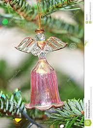 christmas tree crystal angel bell decoration stock photo image