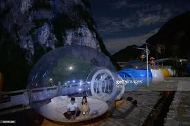 Transparent Tent Enjoying Night Sky In Transparent Domed Tents In Hunan Photos And