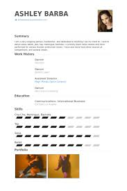 Portfolio Resume Sample by Dancer Resume Samples Visualcv Resume Samples Database