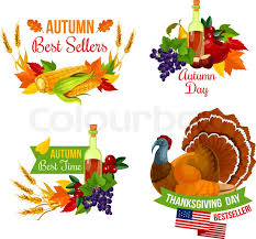 thanksgiving day sale icon set of autumn season fall leaf