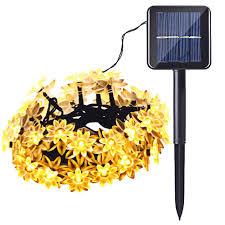 Warm Solar Lights by Solar Powered Warm White 30 Led Lotus Flower String Lights