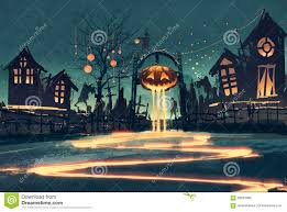 halloween night with pumpkin and haunted houses stock illustration