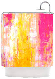 yellow and pink shower curtain small home remodel ideas 580