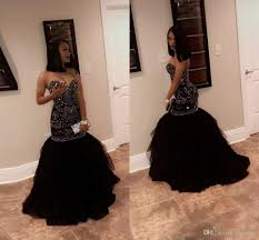 black and gold dress 2018 sparkly beading mermaid prom dresses sweetheart tulle
