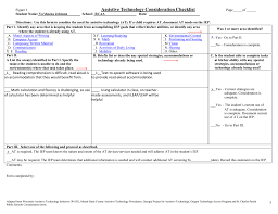 figure 1 assistive technology consideration checklist page of