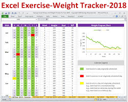 printable workout plan calendar excel fitness tracker and weight tracker for year 2018 weight loss