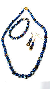 blue crystal necklace images Electric blue crystal necklace and earrings set handmade jpg
