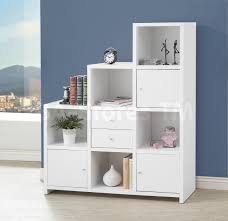 hutches u0026 bookcases asymmetrical white bookshelf with cube