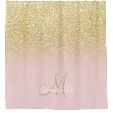 Pink And Gold Curtains Modern Gold Ombre Soft Pink Block Personalized Shower Curtain