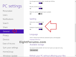 spell checking turn on or off in windows 8