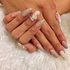 coffin shape acrylic nails with 3d design glitter and
