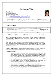 Sample Resume Hr Generalist by Resume For Hr Manager In India Contegri Com