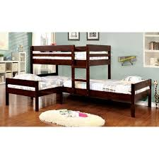 Bunk Bed Sets Furniture Of America Tressa Espresso Corner 3 Bunk Bed