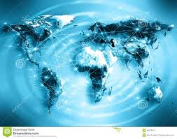 Sattelite World Map by World Map On A Technological Background Best Stock Illustration