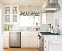 faux brick backsplash floating cabinets with glass door with
