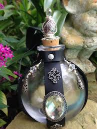 halloween glass beads glass leather potion poison bottle with skull and crossed bones