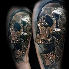 Skull Arm - 50 3d skull designs for cool cranium ink ideas