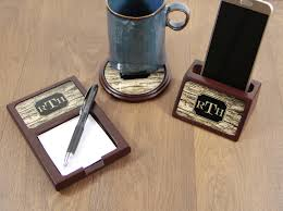 personalized gifts for him christmas gifts for him wood mahogany desk accessories set sticky