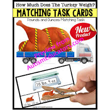 measurement turkey task cards for thanksgiving or fall work task bins