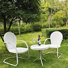 Metal Garden Table And Chairs Amazon Com Crosley Furniture Griffith 3 Piece Metal Outdoor