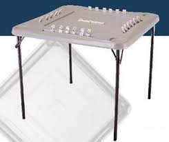 34 folding card table almond folding square domino card table 2492 lifetime 34 in