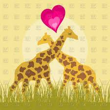 two lovers giraffe cartoon style vector clipart image 78923