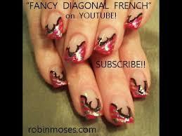 nail art design pink french with foil u0026 fancy outline diy