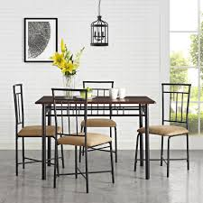 dorel living mainstays 5 piece wood u0026 metal dining set deep walnut